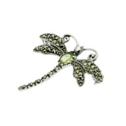 Sterling Silver & Marcasite Dragonfly Gemstone Brooch